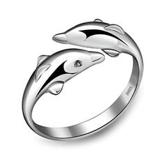 Lovely Silver Double Dolphin Opening Adjustable Rings Women Girls Jewelry