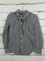 Ralph Lauren Womens Sz 2 Top Striped Black White Button Down Shirt Blouse Fitted