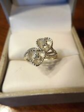 VINTAGE Estate ANTIQUE 14K White Gold DIAMOND DOUBLE HEART Ring Size 4.25 (38)