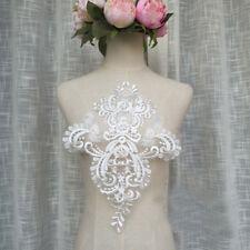 blanco crudo Listón de encaje boda bordado Motivo Floral Aplique 1 pieza