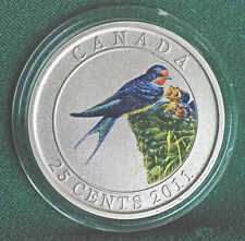 2011 CANADA 25 cent Coloured Coin - Barn Swallow - complete w pkg
