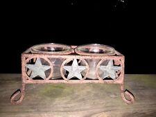 Antique Primitive BARN STAR Yankee Candle Tealight Holder Rustic Folk Art Design