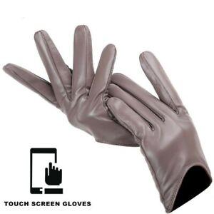 Short Women Touch Screen Khaki Winter Gloves Driving Walking Elegant Warm Brown