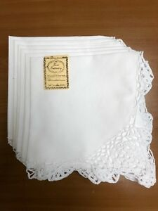 """Cotton with Crochet Lace Dinner Napkins 18""""X18"""":Set of 6: (N4011W)"""