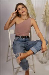 Pleat Boutique Pink One Shoulder Bodysuit 8