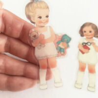 Dolly Girl PAPER DOLL MATE Dress Up Stickers Kawaii Vintage Transparent Plastic