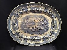 "Antique C1820 William Adams Large Blue Transferware 17"" Platter ""Palestine"""