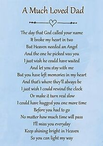 A Much Loved Dad Memorial Graveside Poem Card & Free Ground Stake F106