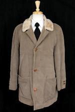 vintage mens brown WARMSTER US RUBBER CO corduroy chore coat jacket faux fur L