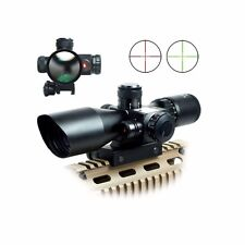 2.5-10x40 Tactical Rifle Scope Mil-dot Dual illuminated w/ Red Laser & Mount