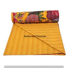 Indian Handmade Cotton Kantha Quilt Floral Print Throw Bedspread Queen Blanket