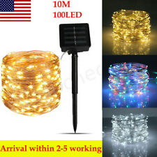 Waterproof Outdoor Solar Powered 10/20M 100/200Led Copper Wire Light String Xmas