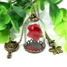 Beauty and the Beast Real Rose Dried Flower Glass Bottle Chain Necklace Pendant