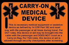 Safety Orange Carry-On Medical Device Bag Tag - TSA - CPAP BiPAP APNEA POC