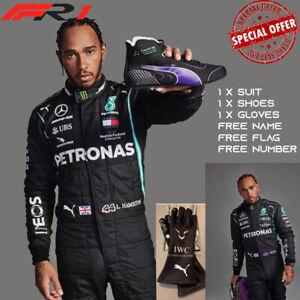 Lewis Hamilton Mercedes Petronas F1 Karting Suit 2021 Go Kart Suit Gloves Shoes