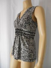 BCBG Max Azria knit Top Tank Blouse size Small black white shirred waist
