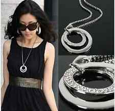 Women Fashion Crystal Rhinestone Silver Plated Long Chain Pendant Necklace Gift