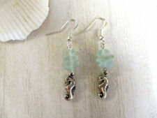 Pale Blue Frosted Pebble Glass Earrings Handmade Silver Tone Seahorse Charm &