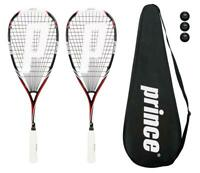 2 x Prince Pro Airstick Lite 550 Squash Rackets + Cover + 3 Balls RRP £330