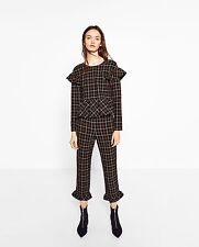 Zara Checked Frill Top Size S,M