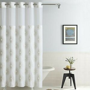 """Hookless® Starburst Fabric Shower Curtain Metallic Gold Snap-in Liner 71"""" X 74"""""""