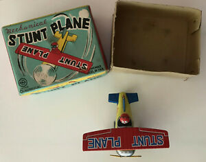 Vtg Japan 1950 MARX Linemar Wind Up Working Tin Litho MINI STUNT PLANE; Orig Box