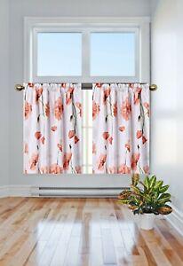 Flower Floral Half Window Rod Pocket KITCHEN Curtain SHORT Panel DR2 MANY DESIGN