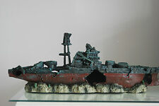 Aquarium Large Battle Ship Destroyer & Rock Base For Aquariums 46 x 11 x 17 cms