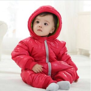 Baby Snow Suit All-In-One Quilted Water Repellant Pink Snowsuit Size 0 LAST ONE