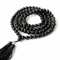 8MM 108 obsidian Beads Mala Necklace Bless natural classic fengshui pray cuff