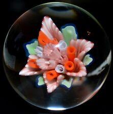"""JOHN ALSTRUP HANDMADE GLASS MARBLE/1.635""""-ALSTRUP FLORAL BOUQUET-LIME,SALMON,ORG"""