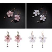 Women White Pink Small Hoop 5 Petal Drop Earrings Zircon Tassel Acrylic Flower