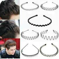 Black Metal Sports Hairband Headband Wave Style Hair Band For Men/Women