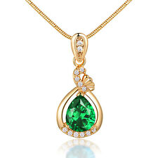 Drop Pear Green Swarovski Crystal Gold Filled Pendant Lady Women Party Necklace