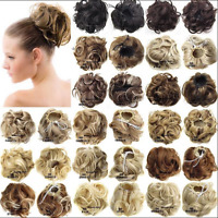 Hair Extensions Wavy Curly Synthetic Hair Bun Wig Hairpiece Clip in Scrunchie Ki