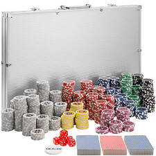 Maletín Póker set aluminio plateado 1000 fichas láser poker chips + accesorios N