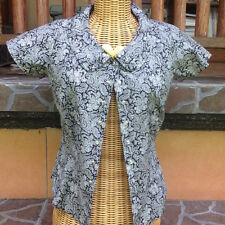 Agnes B Woman's Cap Sleeve Blouse - black w white paisley design - size 38