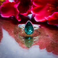 Wonderful Green Tourmaline Gemstone 925 Sterling Silver Handmade Ring All Size
