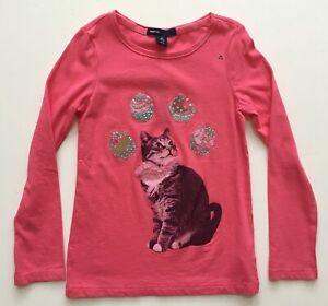 GAP KIDS Girls Sz 4-5 Pink Cat Cupcake Rhinestone Top T-shirt Long-sleeve NEW