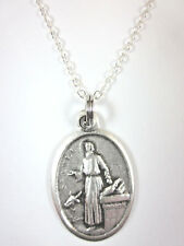 "St Luke the Apostle Medal Italy Pendant Necklace 20"" Chain Gift Box Prayer Card"