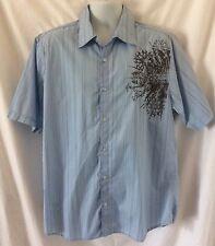 SAPPHIRE LOUNGE Light Blue Striped Men's Short Sleeve Shirt Size XL