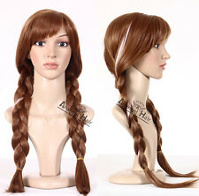 Movie Hair Anna Cosplay Wig Synthetic Brown Long Braided Princess Costume+Cap