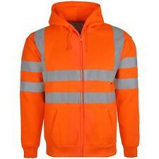 Hi Vis Viz High Visibility Safety Security Builder Worker Highway Reflective Top Orange Zip Hoodie XL