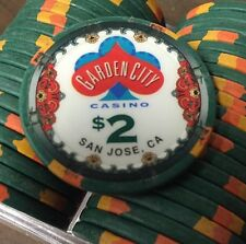 100 $2 Garden City Casino Chips PAULSON Clay TOP HAT & CANE