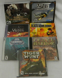 Lot of 7 Military Games Game Sharpshooter Tiger ACES Dozen Black Hawk PC CD-ROM