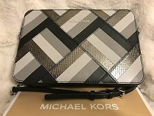NWT MICHAEL KORS MARQUERTRY PATCHWORK JET SET TRAVEL LG EW CROSSBODY BAG - BLACK