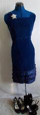 Glamourous,VINTAGEMidnight Blue Velvet Vintage Designer Dress, ruffled satin hem