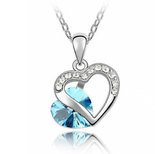 SILVER AND CRYSTAL HEART NECKLACE IN TURQUOISE **UK SELLER** GIFT
