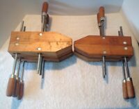 """Pair Of Jorgensen & 3 China 12"""" Adjustable Wood Working Clamps, Nice Condition"""