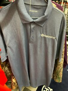 New Men's Husqvarna Polo Shirt ~ Gray/ Blue ~L
